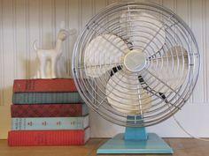 1960s Turquoise Fan, Superior Elctric Fan, Superior Electric, Vintage Fan, Osculating Fan, Industrial Fan