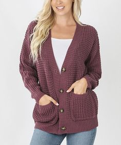 Eggplant Waffle-Knit Button-Up Pocket Cardigan - Women & Plus Weather Day, Waffle Knit, Knitting Designs, Cardigans For Women, 5 S, Eggplant, Waffles, Button Up, Sweater Cardigan