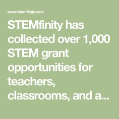 STEMfinity has collected over STEM grant opportunities for teachers, classrooms, and afterschool programs. Education Grants, Stem Learning, Too Cool For School, After School, Opportunity, Classroom, Teacher, Robotics, School Ideas