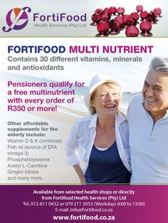 Fortifood Multi Nutrient Contains 30 different vitamins, minerals and antioxidants Available from selected health shops or directly from Fortifood Health Services (Prt) Ltd  www.fortifood.co.za      #supplements #nutrition #antioxidants #vitamins #antioxidantsupport #multivitamins #healthy #multivitamin #health #omega #minerals