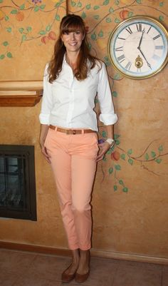 colored khakis and white button down