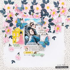 Hi Crate Paper Fans! Flóra is back today with a new spring layout. I used the Maggie Holmes Sunny Days collection which you can buy in JOANN stores. Scrapbook Page Layouts, My Scrapbook, Scrapbook Supplies, Picture Scrapbook, Photo Layouts, Travel Scrapbook, Birthday Scrapbook, Clear Stickers, Paper Fans