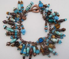 Aqua Maple Brown Paper Bead Copper Cha Cha Charm by tee007 on Etsy, $35.00