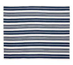 Oxford Stripe Recycled Yarn Indoor/Outdoor Rug - Blue #potterybarn