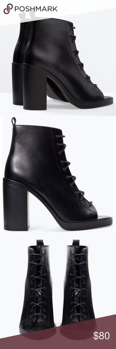 "ZARA Black Leather Lace Up Peep Toe Heel Boots! Brand new, never worn! Zara Faux leather booties! Perfect for all seasons! Features peep toe front, entire front Lace Up, & a chunky heel! Size EU 39 (US 8)! Heel measures 4"". Zara Shoes Lace Up Boots"