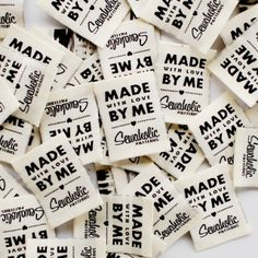 """Sewaholic Patterns - """"Made With Love By Me"""" Woven Clothing Label - Pack of 4 Sew-In Labels, $3.98 (http://www.sewaholicpatterns.com/made-with-love-by-me-woven-clothing-label-pack-of-4-sew-in-labels/)"""