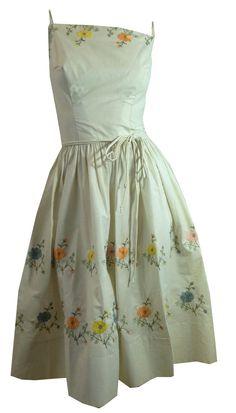 Pastel Flower Embroidered White Summer Sun Dress circa 1960s L'Aiglon