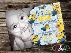 Minion Invitation. Minion Photo Invitation. by BandBPrintables