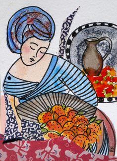 carte d'art, dessin original la belle sultane : Affiches, illustrations, posters…