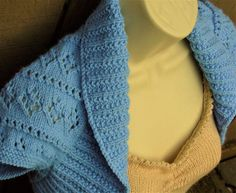 Periwinkle Blue Knit Shrug with Diamonds and Eyelet Lace by Zuuzuu