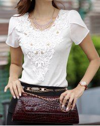 $9.11 Ladylike Style Lace Splicing Short Sleeves Beaded Slimming T-shirt For Women