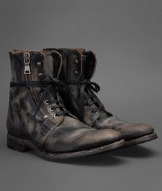 Side zip, lace-up military boot by John Varvatos