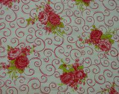 "Pretty Vintage Feedsack, Fabric, Lg. 37 1/2 x 42 1/2"" Pink Flowers and Swirls"