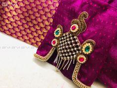 Saree Blouse Neck Designs, Fancy Blouse Designs, Bridal Blouse Designs, Peacock Blouse Designs, Sari Blouse, Hand Work Blouse Design, Stylish Blouse Design, Simple Embroidery, Hand Embroidery Designs