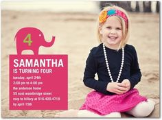 Birthday Party Invitations Happy Elephant - Front : Begonia