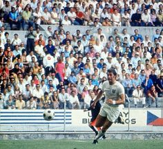 England 1 Romania 0 in 1970 in Guadalajara. The tireless Geoff Hurst chases a loose ball in Group 3 at the World Cup Finals.