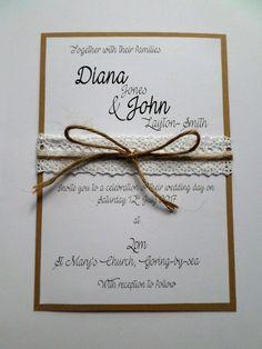 Handmade Budget Wedding Invitation  Rustic  by TheUniqueCraftingCo