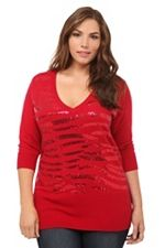 Red Sequin Striped V-Neck Sweater SKU: 590682, size 0 or 1