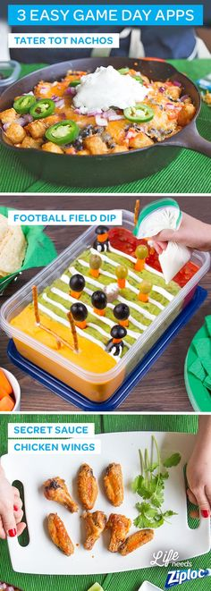 Perfect for last-minute game day guests! Try these delicious, easy recipes made with common pantry items. Between the Tater Tot Nachos, Football Field Dip with cheese, guacamole and salsa, and sweet and spicy Secret Sauce Chicken Wings, your sports party is sure to be a winner! Send your guests away happy with leftovers in a Ziploc® container.