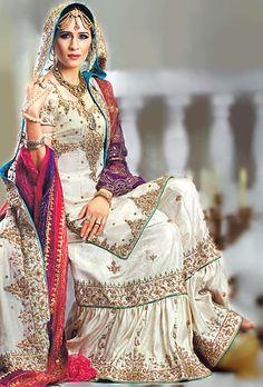 BW6921 Ivory & Dark Blue Gharara Ivory Pastora The Latest Collections of Asian Wedding Fashion & Bridal Wear