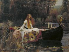 John William Waterhouse - The Lady of Shalott 1888 - Canvas Wall Art - Requiescat Wall Decor Framed Ready to Hang - Replica Canvas Paintings Famous, Classic Paintings, Great Paintings, Famous Art, John William Waterhouse, Renaissance Kunst, Renaissance Paintings, Italian Renaissance, Baroque Period Art