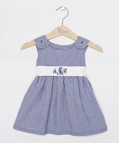 Navy Gingham Personalized Sash Jumper - Infant, Toddler & Girls #zulily #zulilyfinds