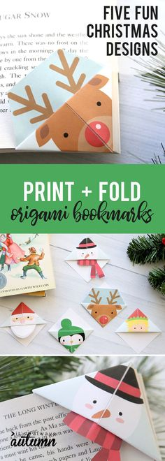 Print and fold origami bookmarks in five fun Christmas designs. Easy kids' craft - perfect for school Christmas parties. Click through to get the free printable templates! design Printable Christmas origami bookmarks - It's Always Autumn Origami Design, Origami 3d, Origami Ball, Useful Origami, Origami Paper, Kids Origami, Origami Envelope, Origami Ideas, Origami Heart