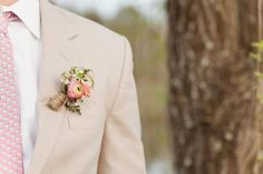 pink boutonnière / Sweet Peach Photography
