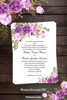 Printable Wedding Invitation Romantic Blossoms Make Your Own DIY - Wedding Template Shop Diy Wedding Invitations Templates, Printable Invitation Templates, Reception Invitations, Wedding Stationery, Invitations Online, Wedding Sand, Purple Wedding, Wedding Planning Guide, Wedding Countdown