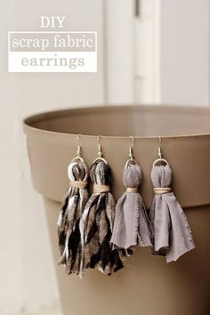 diy | scrap fabric tassel earings