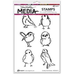 Dina Wakley SCRIBBLY SMALL BIRDIES Media Cling Rubber Stamp MDR50414