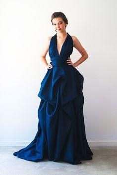 6d6f1791cf Modern Navy Blue A-Line Deep V-Neck Sleeveless Long Prom Evening Dress