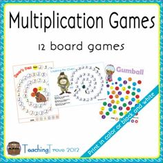 These 12 multiplication games are designed to consolidate each times table from 0 to 12 x. They can be printed in color or black ink (a color copy and an black and white copy is included).