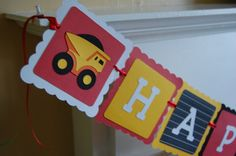 Dump Truck Happy Birthday Banner Construction Theme by GiggleBees, $24.00