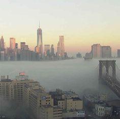 NYC in fog.