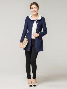 Winter Fashion Slim Lace Woolen Coat