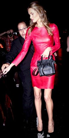 Rosie is definitely one of the (very) few people who can wear a red leather sheath dress