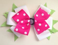PINK POLKA DOT Stacked Boutique Style Hair Bow by FrillyBowPeep, $5.00