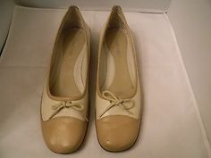 """Nine West Women's Camel/Nude Leather Ballet Shoes Size 9.5M / 1"""" Wedge ."""