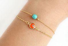 Evil eye bracelet orange turquoise bracelet by asteriascollection