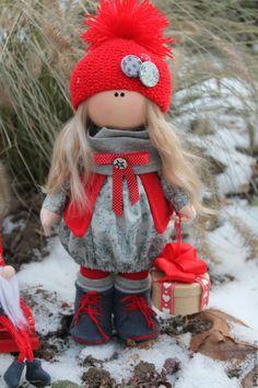 Купить Новогодняя куколка - ярко-красный, серебряный, новогодний сувенир, новогодние игрушки, новогодний декор