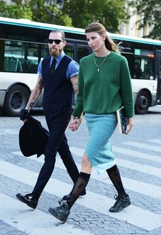 Babes and beards. Justin O'shea and Veroniks Heilbrunner love in stride.