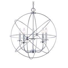Chandelier 5 Light Orb Sphere Hanging Ceiling Pendant Globe Chrome #HowPlumb #Contemporary