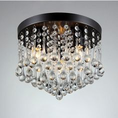 Gisela 3-light Crystal 12-inch Black-finish Flush Mount - 18462611 - Overstock.com Shopping - Great Deals on Warehouse of Tiffany Chandeliers & Pendants