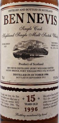 Ben Nevis Single Malt Scotch Whisky 15 year old - Single Malt Scotch Whisky - - The Specialist Whisky Shop - www.whiskys.co.uk front label