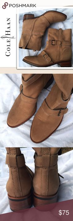 Cole Haan new belted lug sole Bootie sz 11 I'm not sure the name of this style. These appear to have never been worn but there are some signs of shop wear.  I would call them new but you may call them EUC. Size 11 Cole Haan Shoes Ankle Boots & Booties
