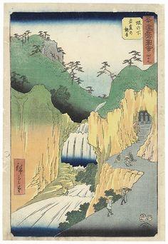The Cave Shrine of Kannon at Sakanoshita by Hiroshige (1797 - 1858); Japanese woodblock print. ukiyoe japan decoration antique fineart home decor collectible japanese woodblock print handmade home art beautiful decorative