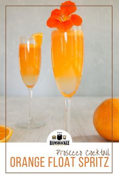 This Orange Float Spritz Cocktail recipe is a delicious take on the Summer cocktail straight from Italy. Using Orangecello, Prosecco, and Orange Sherbet we can make this refreshing drink in a jiffy and can easily change this over to a wonderful lemon cocktail. #prosecco #sherbet #cocktail