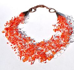 Orange Necklace Air Necklace Seed Bead Jewelry by LikeinaFairyTale