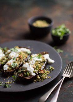 chermoula aubergines with bulgar and yoghurt Veggie Dishes, Side Dishes, Restaurant Recipes, Dip, Veggies, Cooking Recipes, Vegetarian, Tasty, Bulgur